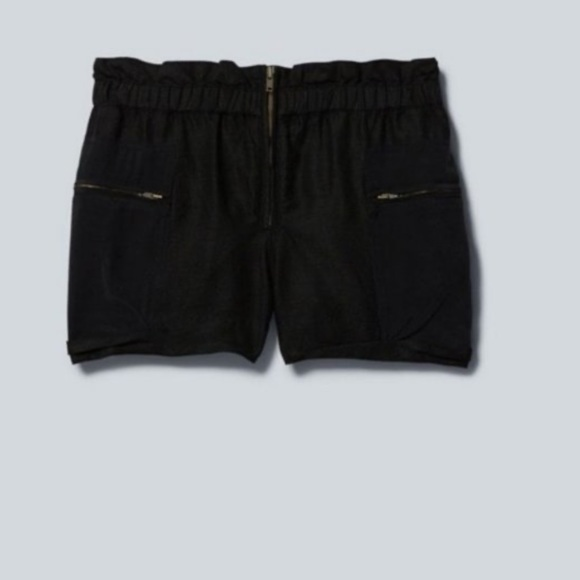 Wilfred Black Linen Shorts With Silk Pocket Detail